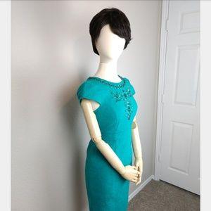 Chetta B Sunhee Embellished Teal Dress